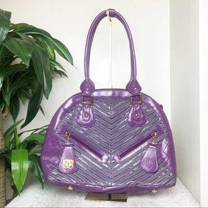 Sharif Purple Patent Leather Chevron Striped Bag